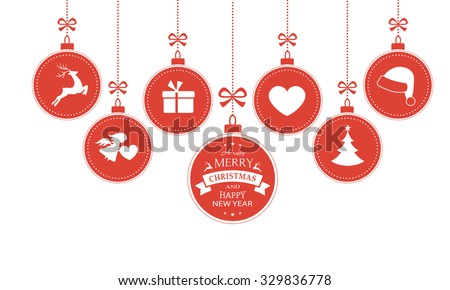 Set of 7 hanging Christmas baubles with symbols such as santa hat, reindeer, angel, heart, present and Christmas tree with a ribbon forming a versatile border isolated on white. - stock vector