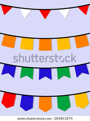 Set of Hanging Flags - stock vector