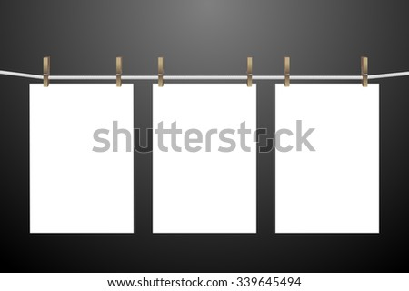 Set of hanging papers. Vector illustration isolated on dark background for templates, mock ups and backgrounds - stock vector