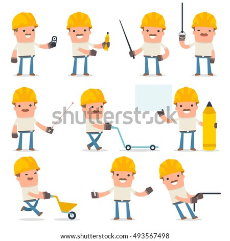 Set of Happy and Intelligent Character Handyman making presentation for using pointer using in design, etc.