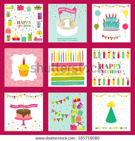 Set of Happy Birthday and Party Invitation Card - with place for your text - in vector - stock vector