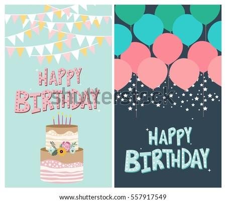 Set happy birthday greeting invitation card stock vector 557917549 set of happy birthday greeting or invitation card vector illustration stopboris Gallery