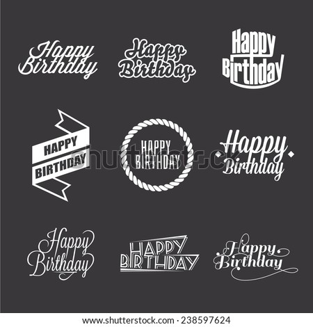 Set of Happy Birthday's lettering, typography design elements - stock vector