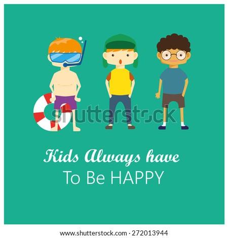 Set of Happy Children Vector - stock vector