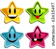 Set of happy colorful stars - stock vector