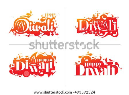 Set of Happy Diwali Text Design Background. Abstract vector illustration.