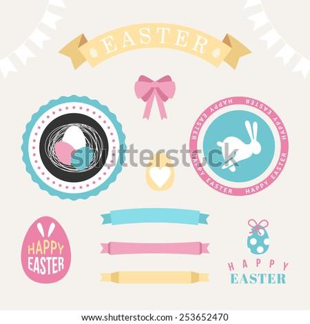 Set of Happy easter design elements, Eggs, ribbons, rabbits - stock vector