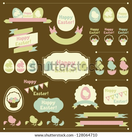 Set of Happy Easter ornaments and decorative elements. - stock vector