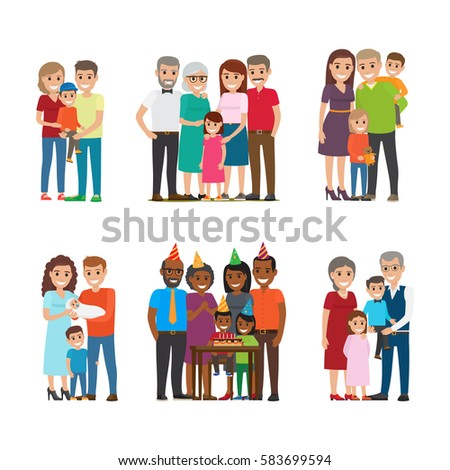 Set of happy families group portraits. Smiling father and mother standing with children, grandparents and celebrating kids birthday with friends isolated flat vector. Happy relatives illustrations
