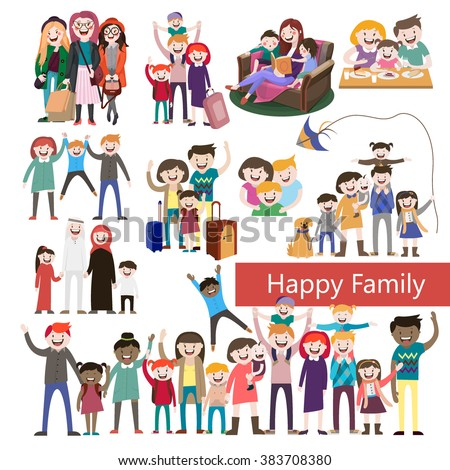 set of happy family, happy people, with their suitcases family,family dinner ,mom reads a story to children, large family, Muslim family, fashion illustration, stylish teenagers, friendship , vector  - stock vector