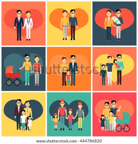 Set of happy family homosexual concept banner design flat style. Young family gay man with a son and daughter and a stroller for a newborn. Father with child happiness lifestyle, vector illustration - stock vector