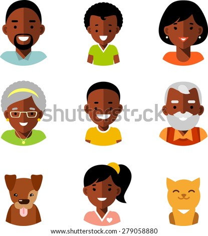 Set of happy family of african american ethnic people avatars icons and two pets isolated on white background in flat style - stock vector