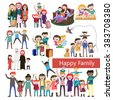 set of happy family, people, with their suitcases family, dinner ,mom reads a story to children, large, Muslim, fashion illustration, stylish teenagers, friendship , vector  - stock vector