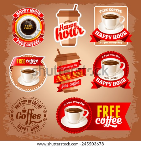 Set of happy hour and free coffee labels for restaurant, bar, cafe.  - stock vector