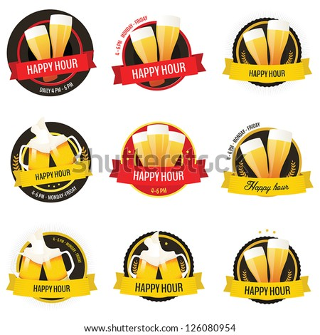 Set of happy hour restaurant, bar labels and badges isolated on white background - stock vector