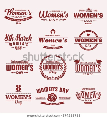 Set of Happy International Woman's Day signs, emblems - Vector design elements, signs, labels, badges collection