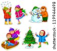 set of happy kids enjoying winter (JPEG available in my gallery) - stock vector