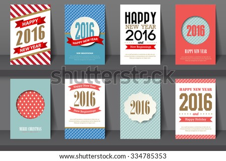 Set of  Happy New Year brochures in vintage style .Vector eps10