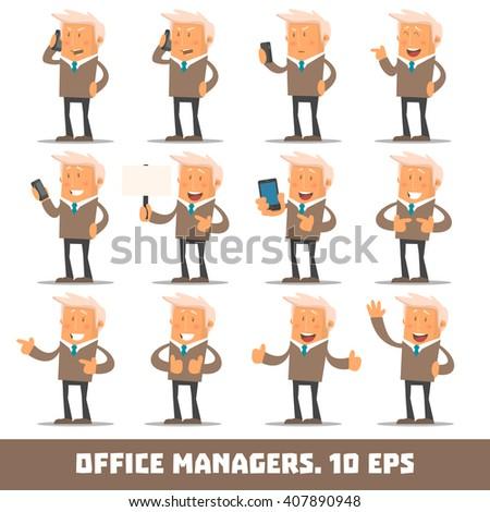 Set of Happy office man. Vector illustration - stock vector