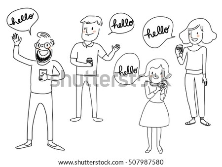Set happy people holding coffee cup stock vector 507987580 set of happy people holding coffee cup and greeting someone hello vector illustration m4hsunfo