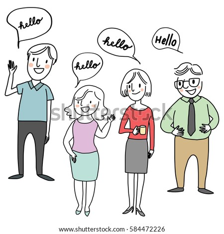 Set happy people standing greeting someone stock vector 584472226 set of happy people standing and greeting someone with word bubble hello included m4hsunfo
