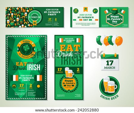 Set Of Happy St. Patrick's Day Greeting Card or Flyer. Vector illustration. Party Invitation Design with Emblem. Typographic Template. Patrick Day Menu Cover Design. Eat, Drink and be Irish. - stock vector