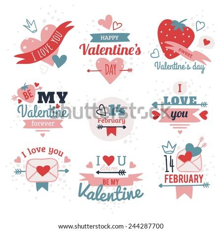 Set Of Happy Valentine's Day - stock vector