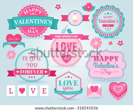 Set Happy Valentines Day Badges Labels Vector 318545036 – Valentine Day Label
