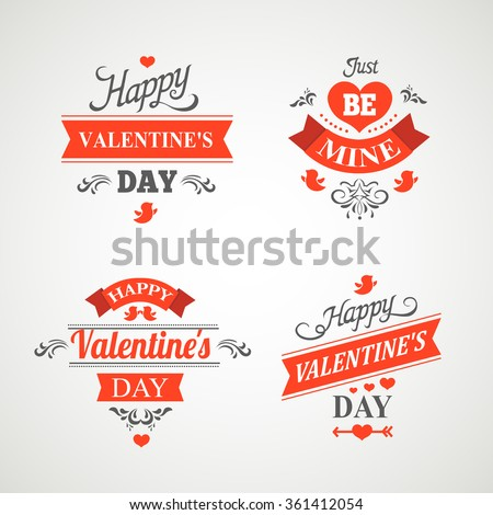 Set of happy valentine's day hand lettering -  ornaments, hearts, ribbon and arrow - stock vector