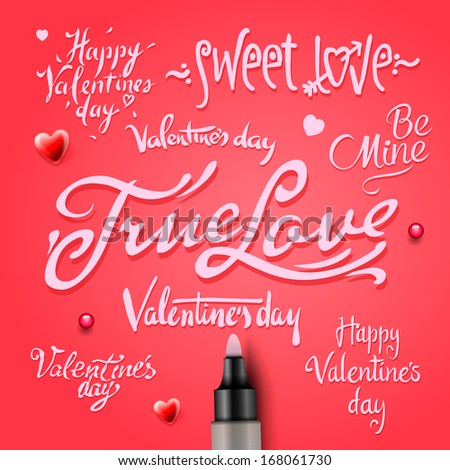 Set Of Happy Valentine's Day Hand Lettering, vector image.