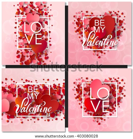 Set of Happy valentines day and weeding design cards. Vector illustration. Pink Background With Ornaments, Hearts. Doodles and curls. Be my Valentine. - stock vector