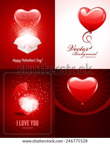 Set of Happy Valentines Day Backgrounds with Hearts Design Template for: Greeting card, banners, invitations or posters, vector illustration