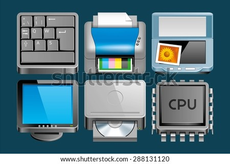 Set of Hardware icons - stock vector