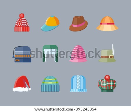 Set of hat flat design collection. Woman hat isolated, fashion ladies hat accessory clothing wear, christmas hat, retro vintage woman hat elegance vector illustration - stock vector