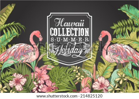 set of hawaii collection summer style - stock vector