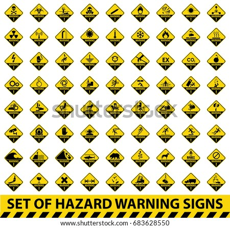 Set Hazard Warning Signs Symbol Illustration Stock Vector Royalty