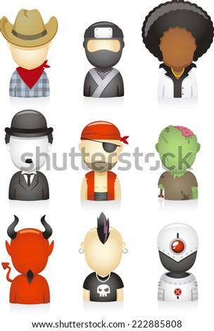 set of head and shoulders avatar people multi ethnic style, with zombie, pirate, Charles Chaplin, Afro, ninja, cowboy, devil, punk, robot, costume party, Halloween vector illustration.  - stock vector