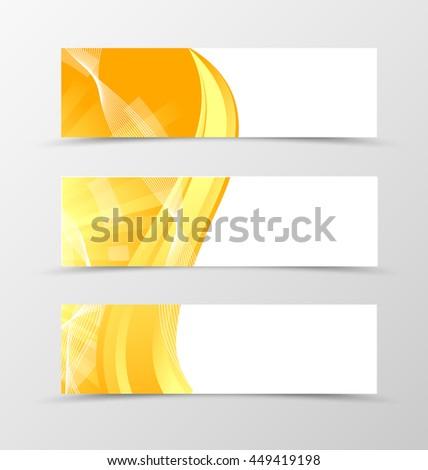Set of header banner digital design with golden lines in orange color and wavy style. Vector illustration - stock vector