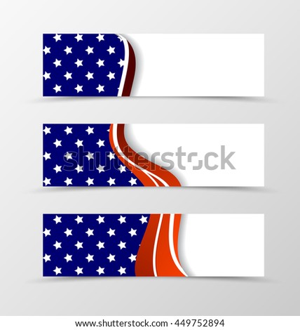 Set of header banner wave design with white stars and red lines in blue color and bright style. Vector illustration