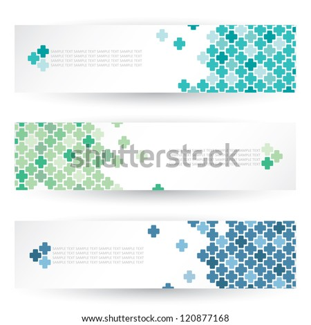 Set of headers with medical crosses - vector illustration - stock vector