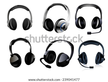 Set of headphones on white background. Vector