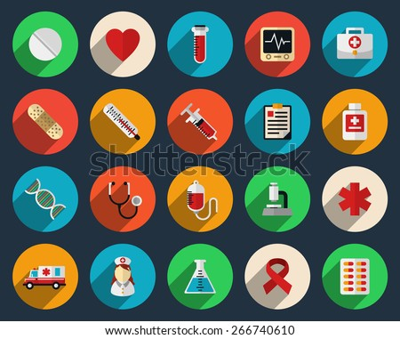 Set of health care and medicine icons in flat style. Pharmacy symbol sign, syringe and tablets, vector illustration - stock vector