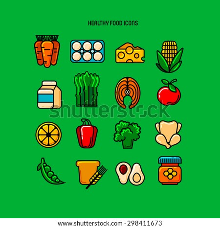Set of  healthy color icons