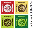 set of healthy food cards. vector illustration - stock vector