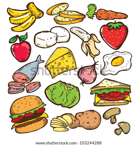 set of healthy food in doodle style