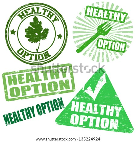Set of healthy option grunge rubber stamps, vector illustration - stock vector