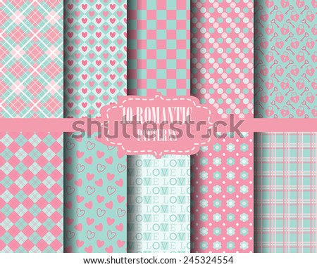 set of Heart and sweet pink pattern, for valentines day, Pattern Swatches, vector, Endless texture can be used for wallpaper, pattern fills, web page,background,surface - stock vector