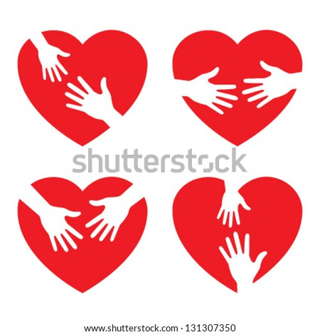 Set of heart icon with caring hands, vector illustration - stock vector