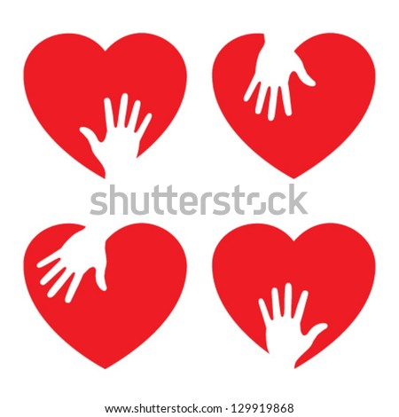 Set of Heart icons with caring hand, vector logo - stock vector