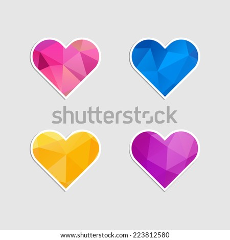 Set of heart icons with triangles pattern. Vector illustration. - stock vector
